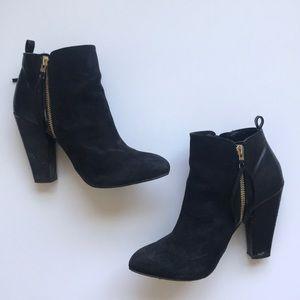 🌻 Mossimo Duel Gold Zipper Black Booties